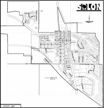 View larger version of the Solon Street Map (PDF).